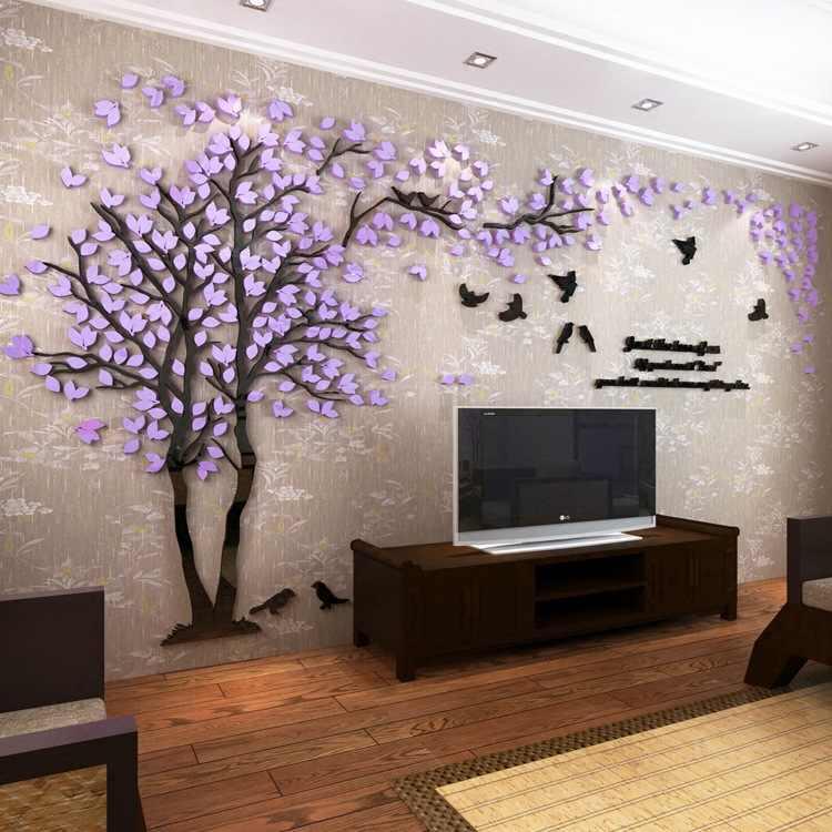 3D 木アクリルミラーウォールステッカーデカール DIY アートテレビ背景の壁のポスター寝室リビングルーム Wallstickers 家の装飾