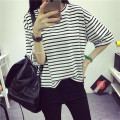 of the new large size women loose, short sleeved wind striped shirt half sleeve t-shirt female South Korean Students