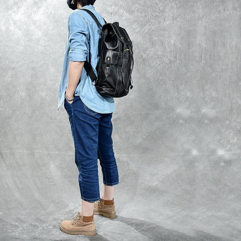 Femmes De Cuir Feminina En À Mochila Main Filles Dos Vintage Sac Femelle Véritable Adolescente Noir Sacs Pour Voyage rdrCqXnPxw