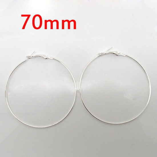 wholesale 20 Pcs Silver Plated Basketball Wives Earring Hoops Dangle Drop 70mm Dia.(W01166)