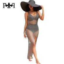 Summer Women Beach Dress Bohemia Style Long Maxi Dresses Casual Lace Bodycon Sexy High Slit Mesh Dress Women Robe