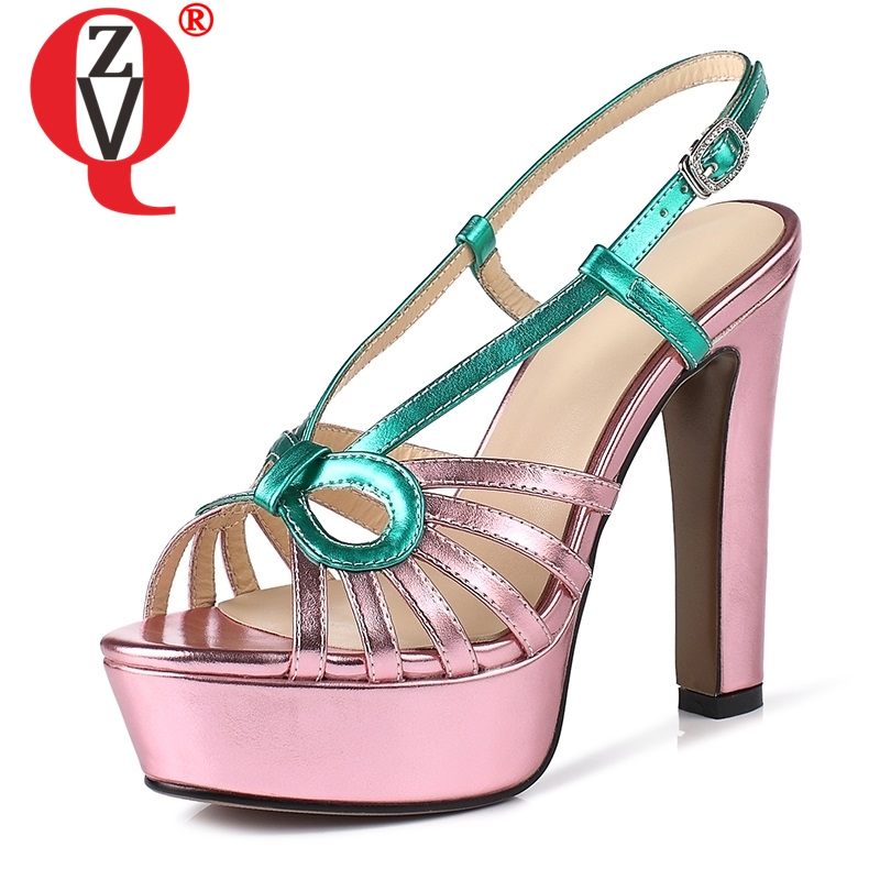ZVQ woman genuine leather Sandals summer fashion Mixed Colors pink silver Super High heels women party wedding Platform shoesZVQ woman genuine leather Sandals summer fashion Mixed Colors pink silver Super High heels women party wedding Platform shoes
