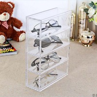 1pc Four Drawer Glasses Display Box Clear Acrylic Makeup Cosmetic Organizer Storage Box 17 2 7