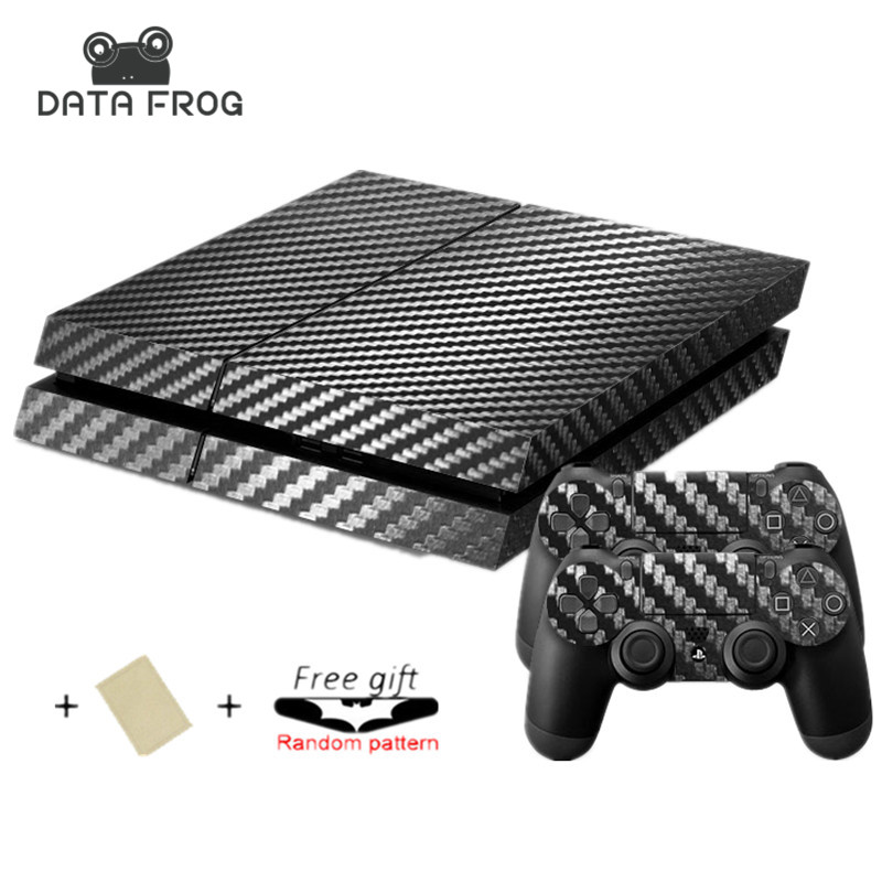 Classical Black Carbon Fiber Decal Skin Ps4 console Cover For Playstation 4 Console PS4 Skin Stickers+ Controller Protective