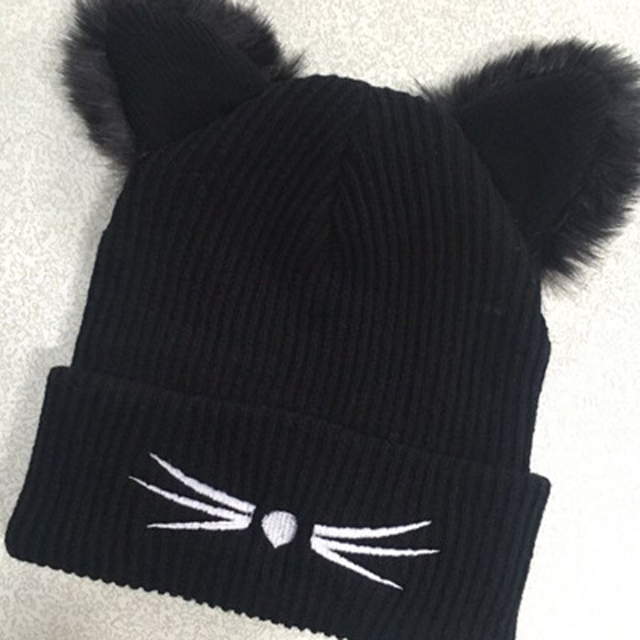 FURGAZI Cat Ears Faux Fur Beanie