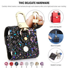 earphone bags For AirPods Case Magnetic Closure Leather Cover With Anti-lost Keychain Glitter for sport headphone 30(China)