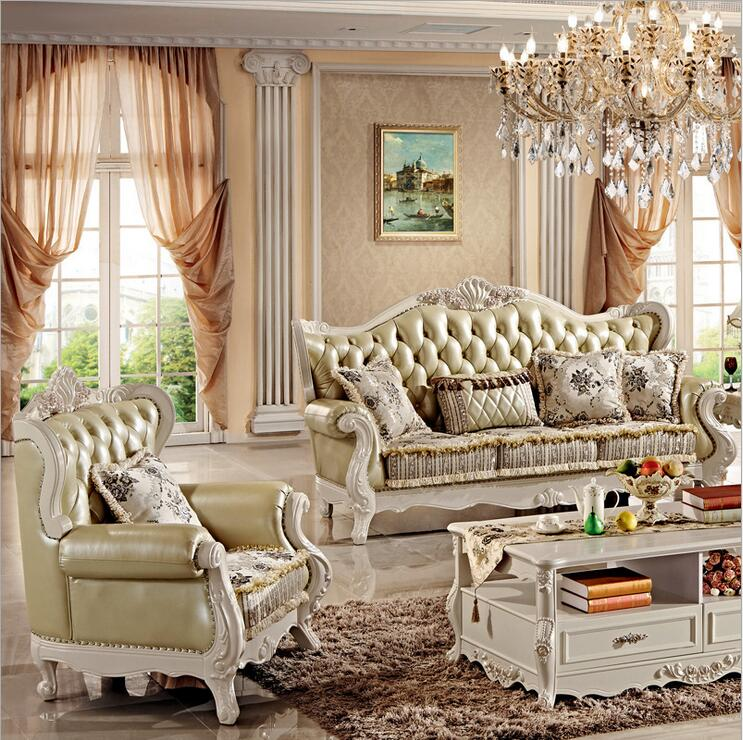 Купить с кэшбэком high quality  European  antique living room sofa furniture genuine leather set pfy10033