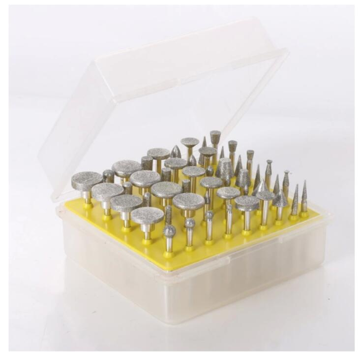 50 PCS DIY Metalworking Grinding Plating Diamond Coated Rotary Burrs Fits Dremel Rotary Tool For Stone/Ceramic/Glass/Carbide/Gem