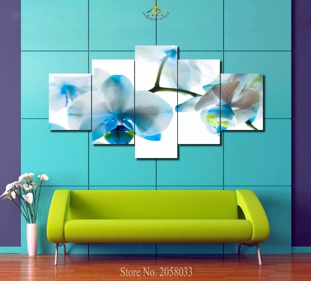 3-4-5 ks / sada Krásné bílé orchideje Tištěné barvy Malování Domácí dekorace Obývací pokoj nebo Ložnice Plátno Malování Nástěnná malba