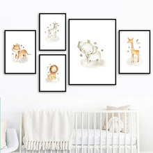 Lion Elephant Zebra Giraffe Fox Nursery Wall Art Canvas Painting Nordic Posters And Prints Pictures Baby Kids Room Decor