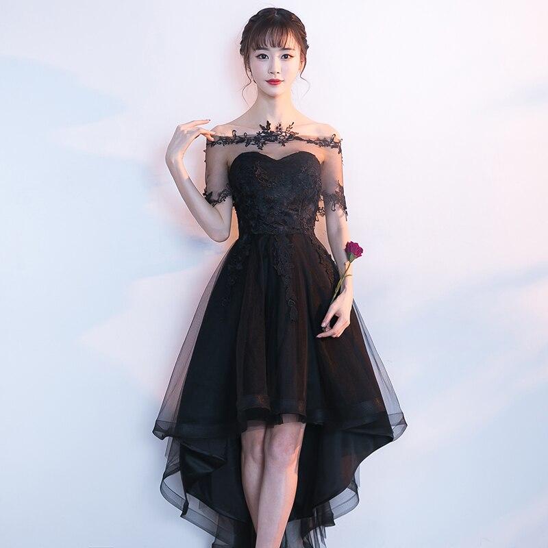 Black Hollow Out Asmmetrical Dresses Women Evening Party Gown Sexy Exquisite Robe De Soiree Slash Neck Lace Appliques Vestidos