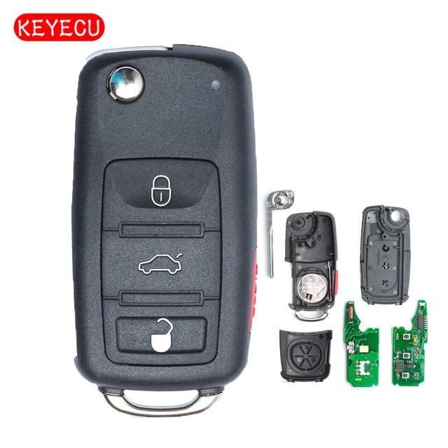 Keyecu Keyless Go Function Replacement Flip Remote Car Key Fob 3 Button 315MHz/433MHz ID46 for VW Volkswagen Touareg 2002 2010