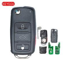 Keyecu Keyless Go Funzione di Sostituzione A Distanza di Vibrazione Auto Chiave Fob 3 Pulsante 315 MHz/433 MHz ID46 per VW  Volkswagen Touareg 2002 2010