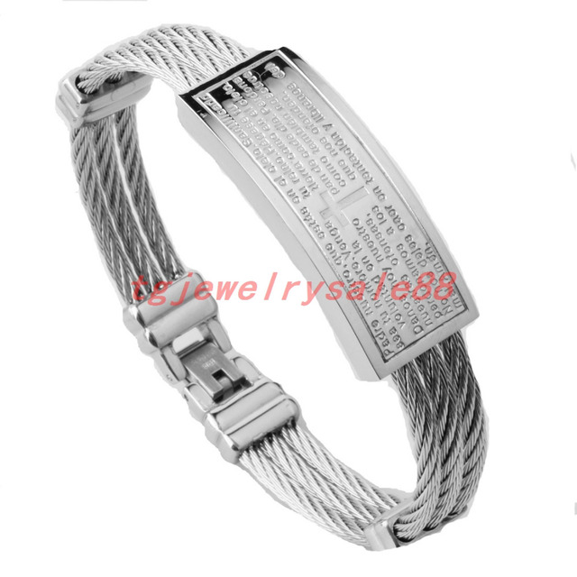 16mm Europe Style Silver Tone Stainless Steel Spanish Bible Cross ...