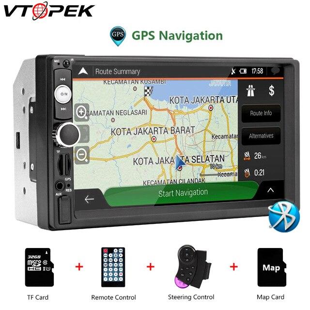 Vtopek 2 din HD autoradio écran tactile véhicule lecteur audio GPS contrôleur de volant Bluetooth universel multimédia MP5