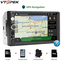 Vtopek 2 din HD car radio touch screen vehicle audio player GPS Steering Wheel Controller Bluetooth universal Multimedia MP5