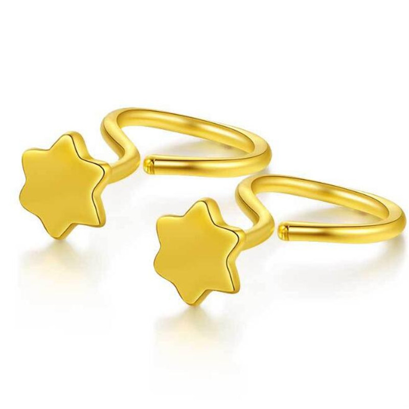 Simple 100% 18K Pure Gold Star of David Hexagram Stud Earrings For Women Girls Fashion Women Jewelry Christmas Gifts Wholesale pair of stylish rhinestone triangle stud earrings for women