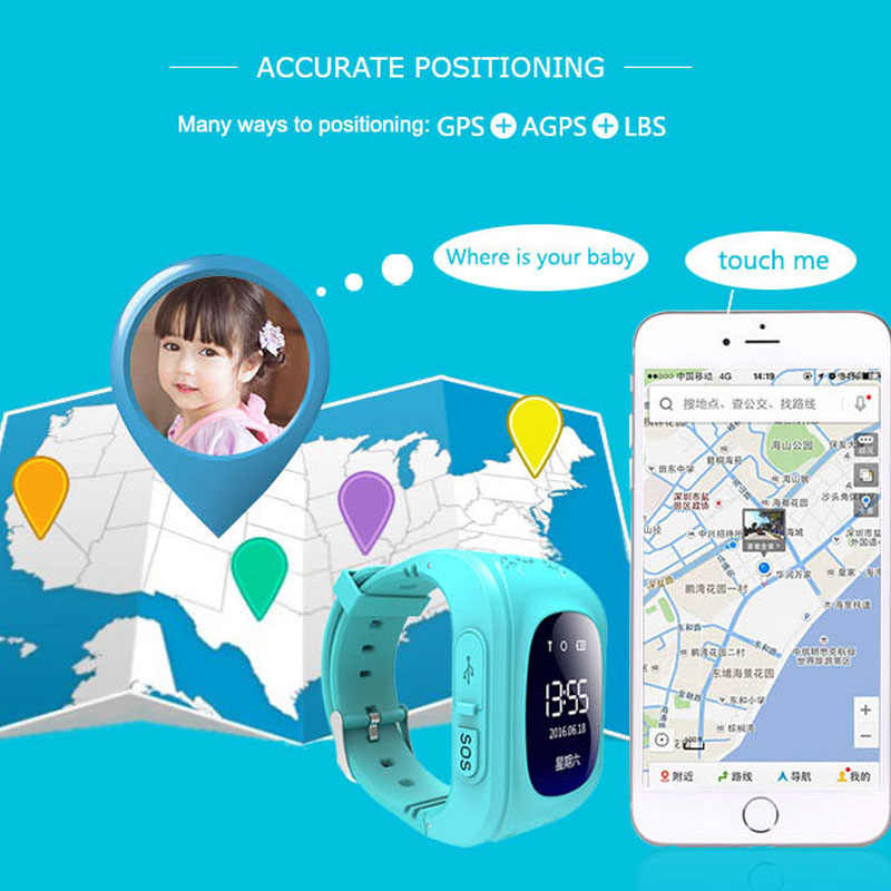 NEW Hot Anti Lost Q50 OLED Child GPS Tracker SOS Smart Monitoring Positioning Phone Kids GPS Baby Watch Compatible IOS & Android