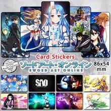65 pcs lot Sword Art Online 3 Credit Card Stickers Cartoon Characters Asuna Kirito ALO