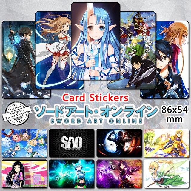 65 Pcs Lot Sword Art Online 3 Credit Card Stickers Cartoon Characters Asuna