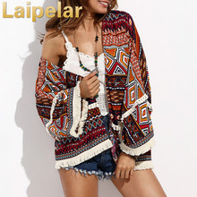 Laipelar Casual Womens Tops for Summer Ladies Three Quarter Length Sleeve Multicolor Print Fringe Pom-pom Decorated Kimono