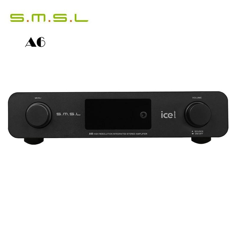 Amplifiers DAC SMSL A6 HiFi Digital AMP AK4452+CM6632A+NJW1194A 50Wx2 DSD512 384KHZ/32Bit OPTIC/Coaxial/XMOS/USB Audio Decoder