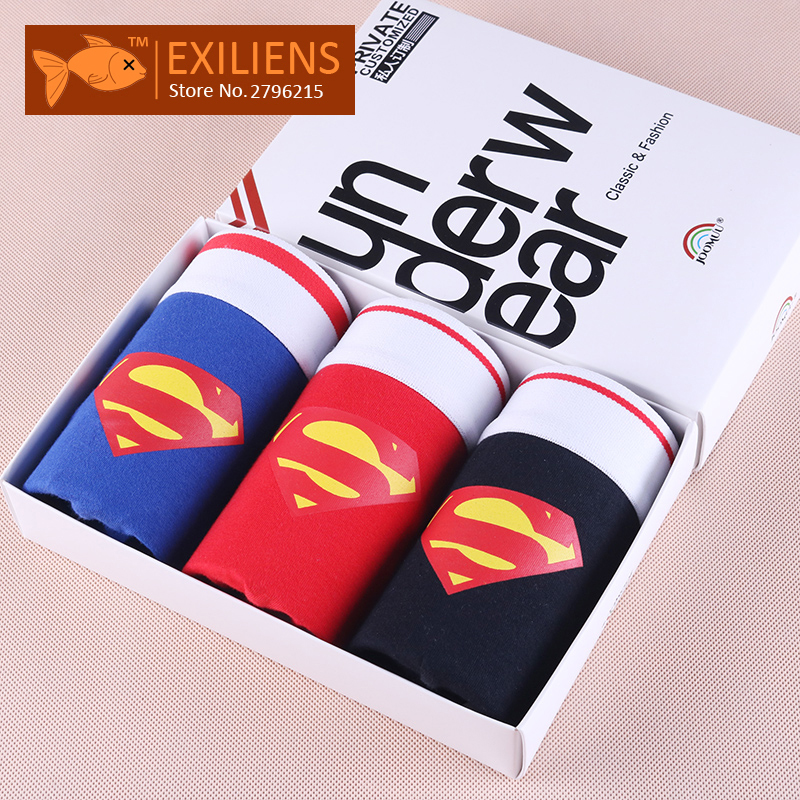EXILIENS Hot Underwears Three in one Men s Shorts Boxers Superman Cotton Male Man Underpants