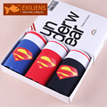 [EXILIENS] Hot Underwears Three in one Men's Shorts Boxers Superman Cotton Male Man Underpants Brand GAY Solid Comfy Size M-XXL