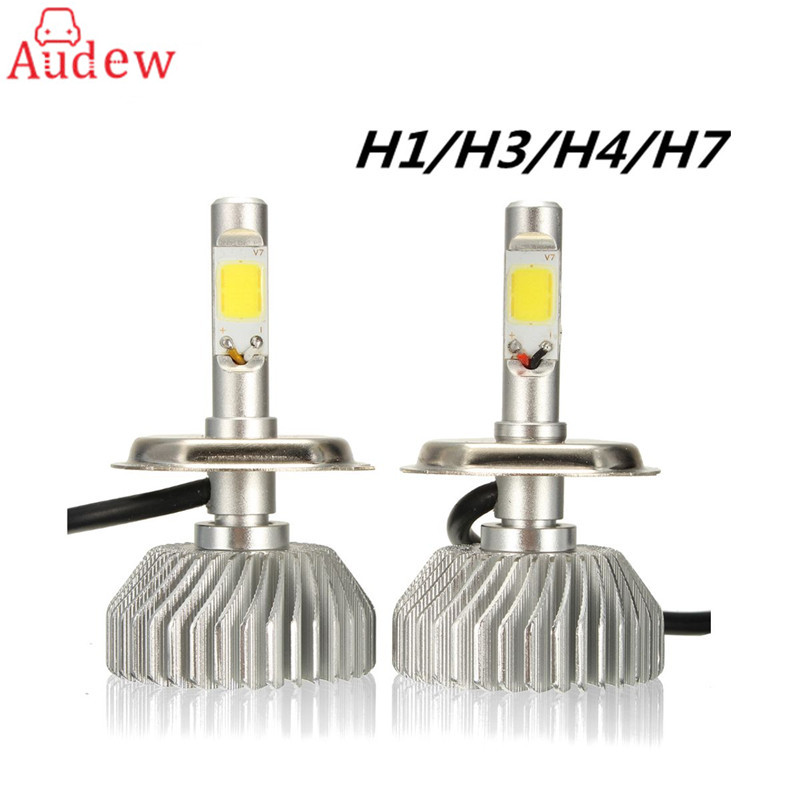 1 Pair LED Car Headlight Bulb 80W H1 H3 H4 H7 LED Light Headlight Headlamp Kit 6000K 10V-30V 12v led light auto headlamp h1 h3 h7 9005 9004 9007 h4 h15 car led headlight bulb 30w high single dual beam white light