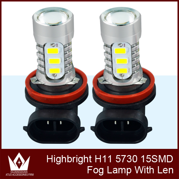Tcart 2PCS Free shipping For Toyota Camry no error car dedicated front fog lamps, White H11/5730 15LED 7.5w Fog Lights lamps