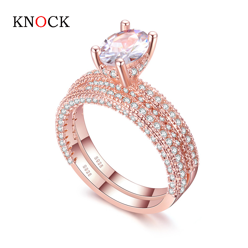 KNOCK high quality Rose Gold Double row White gold For Women Fashion Cubic Zirconia Wedding Engagement ring