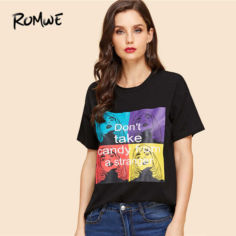 26b9412a49e ROMWE Girl And Letter Print Tee 2019 Chic Women Black Round Neck Clothes T  Shirt Graphic