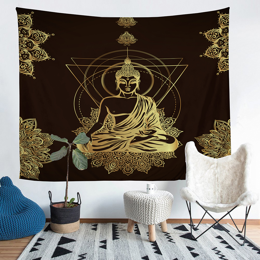 A Home Furnishing Buddhism Tapestry Wall Hanging Sandy Beach Picnic Throw Rug Blanket Camping Tent Sleeping Pad #F-1