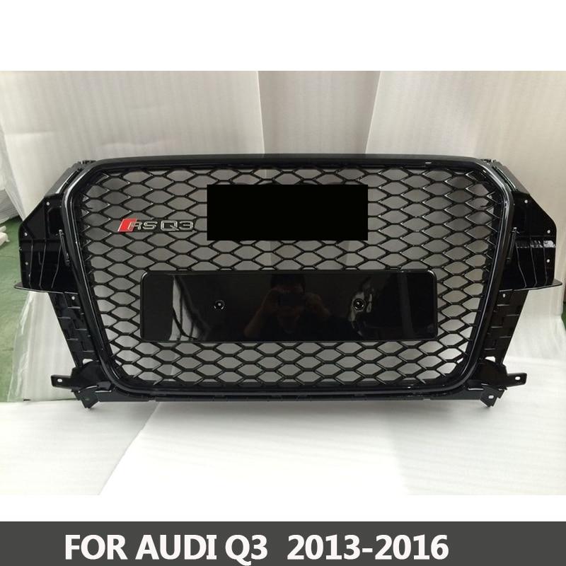Grille RS3-Styling Q3 ABS Noir Peint Avant Miel Mesh Grille pour Audi Q3 RS3 Berline/Coupé/Cabriolet 2013 -2016