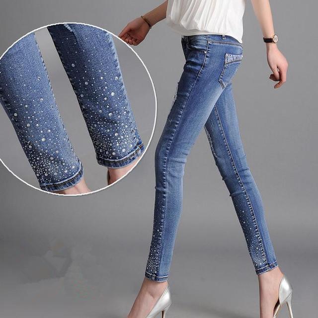Grande tamanho da cintura das Mulheres calças de brim calças stretch diamante rendas buracos lápis calças 8XL