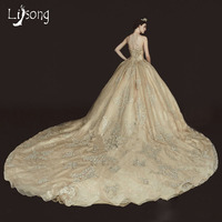 Gorgeous Champagne Wedding Dress Royal Hemline Gold Bridal Formal Gown Chic Middle East Saudi Arabia Custom