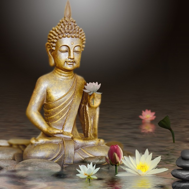 Diy Diamond Mosaic Painting Buddha Lotus Flower Cross Stitch Kits