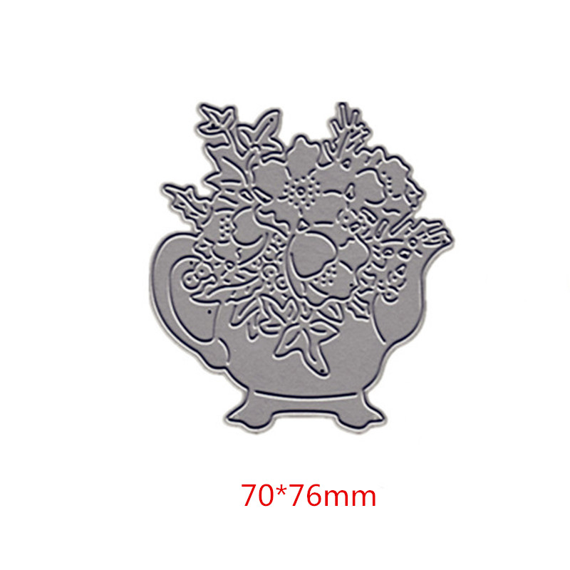 Teapot with Flowers Metal Cutting Dies DIY Paper Cards Stencils for DIY Scrapbooking Making Craft Decoration New 2019 in Cutting Dies from Home Garden