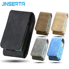 JINSERTA For IQOS Case Leather Flip Cover Electronic Cigarette Accessories Bag Clip-on Hangable Protective case for IQOS II III