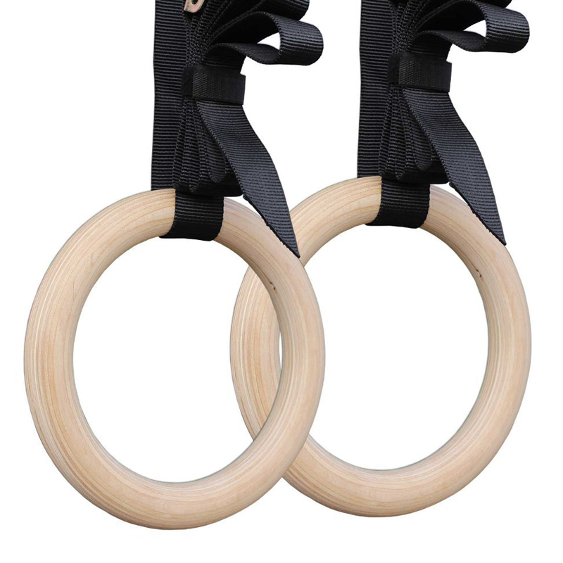 Anneau de gymnastique rythmique anneaux en bois 28mm exercice Fitness Gym crossfit musculation avec boucles sangles 2 pièces