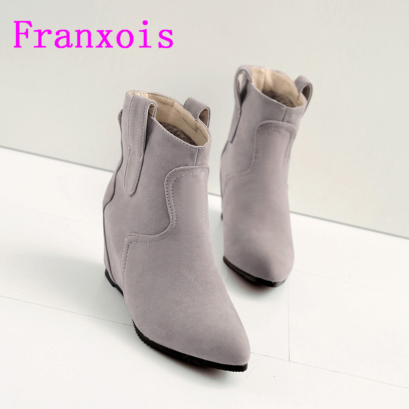Franxois Occident Fashion Women Ankle Boots Stretch Suede Boots Pointed Toe Flat Heel Velvet Lining Short Boots Free Shipping
