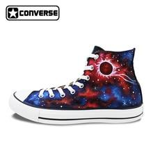 Дизайн Galaxy обувь небулярная пространство ручной росписью парусиновая обувь для мужчин и женщин Converse All Star оригинальные Спортивное кроссовки