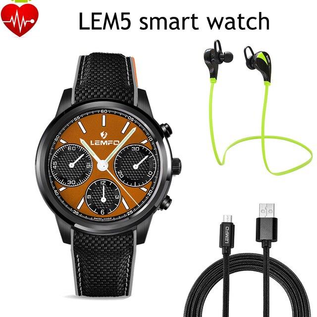 LEMFO LEM5 Android 5.1 OS 1 ГБ + 8 ГБ Smart Watch Phone MT6580 Quad Core 1.39 дюймов scrren с 3 Г Беспроводной Монитор Сердечного ритма Bluetooth