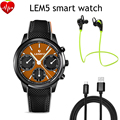Lemfo lem5 android 5.1 os 1 gb + 8 gb teléfono smart watch mt6580 quad Core 1.39 pulgadas scrren con 3G Wifi Pulsómetro Bluetooth