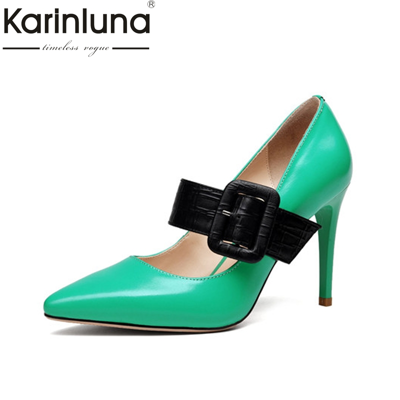Karinluna Women's Mary Jane Buckle Decoraiton Patent Leather Shoes Woman Party Wedding Pointed Toe Pumps Size 34-39 mary jane sterling trigonometry for dummies