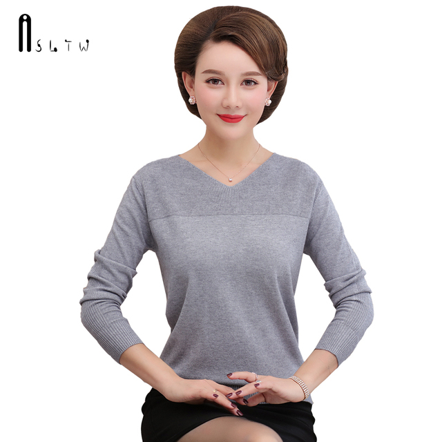ASLTW Sweater Women New Fashion V Neck Solid Sweaters High Quality Pullover Knitwear Casual Jumper Women's Sweater