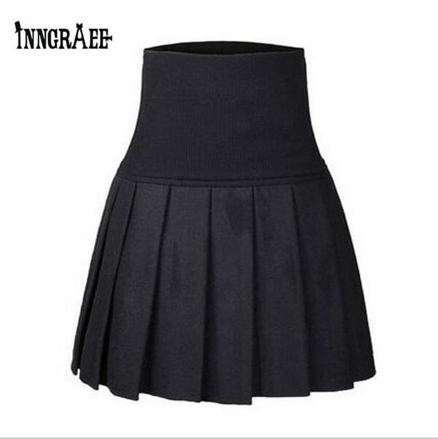 62c0e68542e New Sexy Women Skirt Fashion Fall Winter Skirts Plus Size XL High Waist  Pleated Skirt Black Skater Skirt For Women NS1459