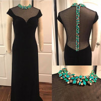 Для женщин Мода сценический костюм одежда Формальные вечерние выпускного вечера со шлейфом платье черный блёстки певица танцор звезда