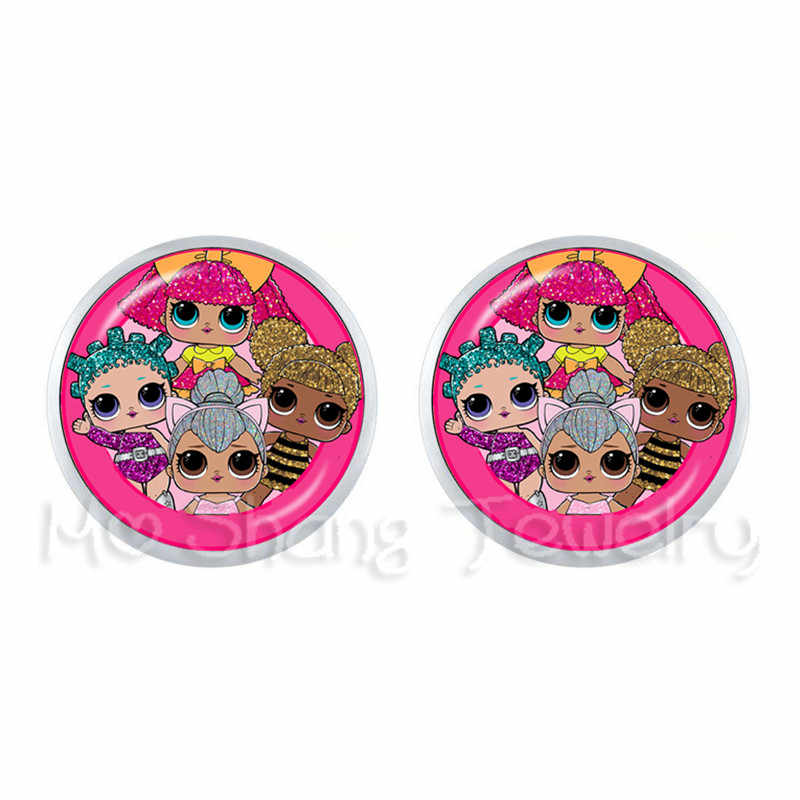 12mm Glass Dome Stud Earrings 1 Pair Cartoon Picture Earrings For Women Girls Gift Baby Jewelry Action Figure