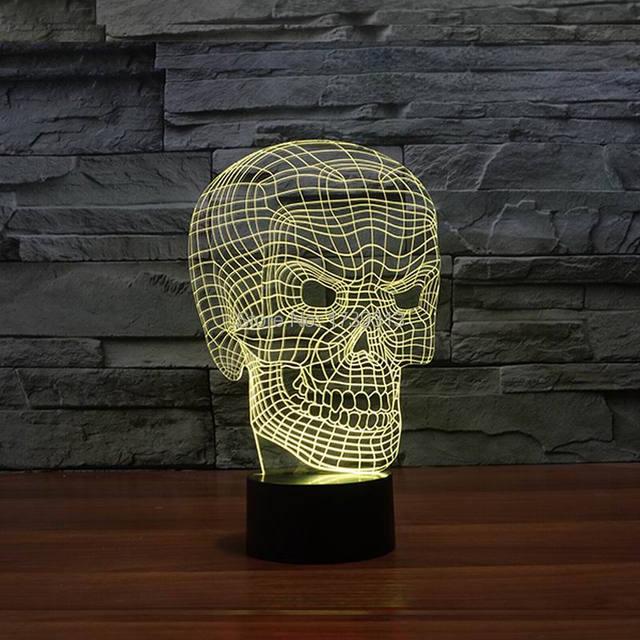 La novedad 3D Cráneo Luz Lámpara Lámpara de La Decoración LLEVÓ Luces con Alimentación USB como Regalos de Vacaciones de Halloween FS-3013